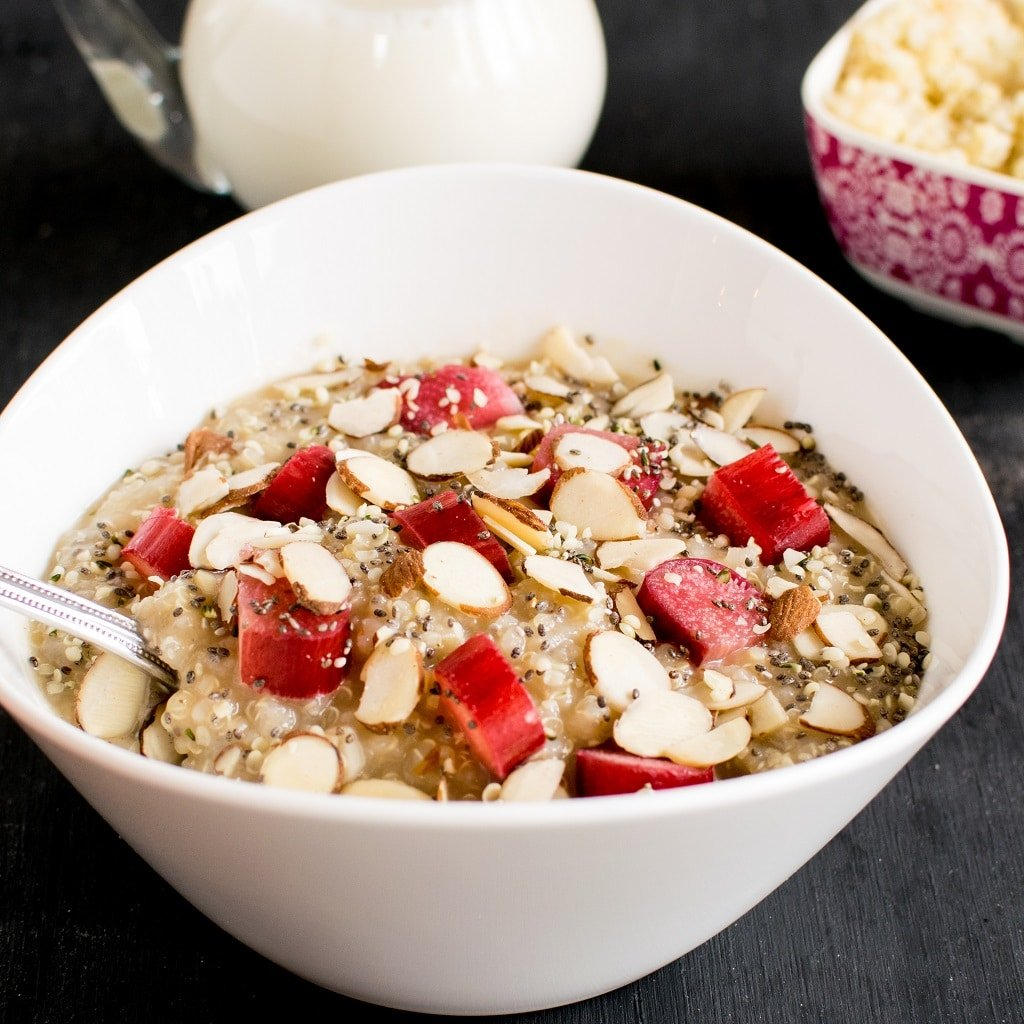 Rhubarb Quinoa Breakfast Bowl is satisfying, filling and flavorful morning meal made with fresh and natural ingredients. It's always a task to prepare breakfast. Also many a times we are confused with the thought of what to eat for breakfast. | vegan and gluten free | kiipfit.com