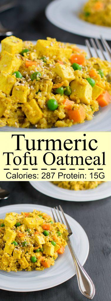 Multiple images of Turmeric Tofu Oatmeal