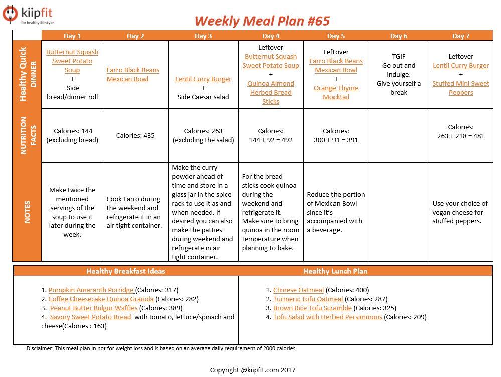 Weekly Meal Plan #65 | healthy vegan and vegetarian recipes | kiipfit.com