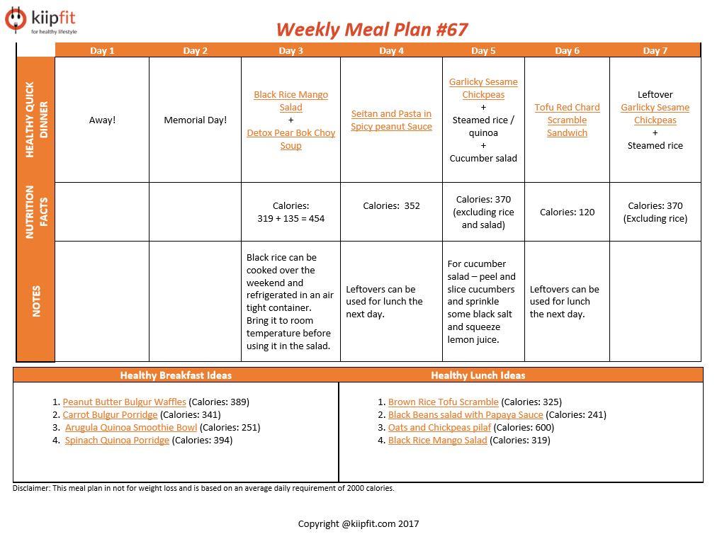 Weekly Meal Plan #67   healthy vegan and vegetarian recipes   kiipfit.com