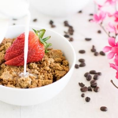 Milk pouring on Coffee Cheesecake Quinoa Granola Clusters