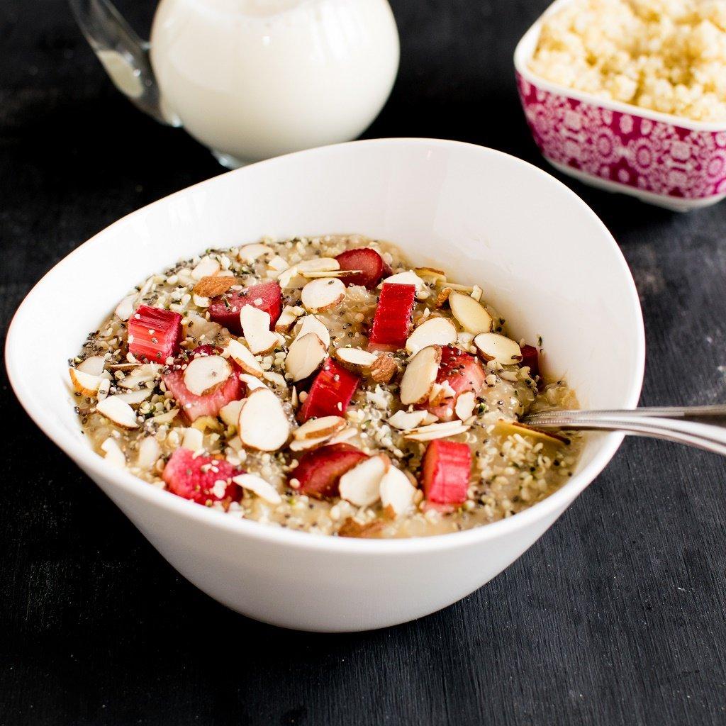 A 45 degree angle view of Rhubarb Quinoa Breakfast Bowl