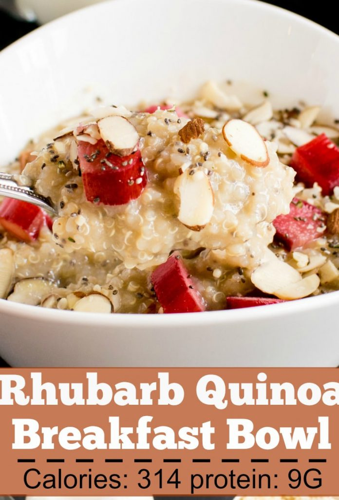 A spoon scooping out Rhubarb Quinoa Breakfast Bowl