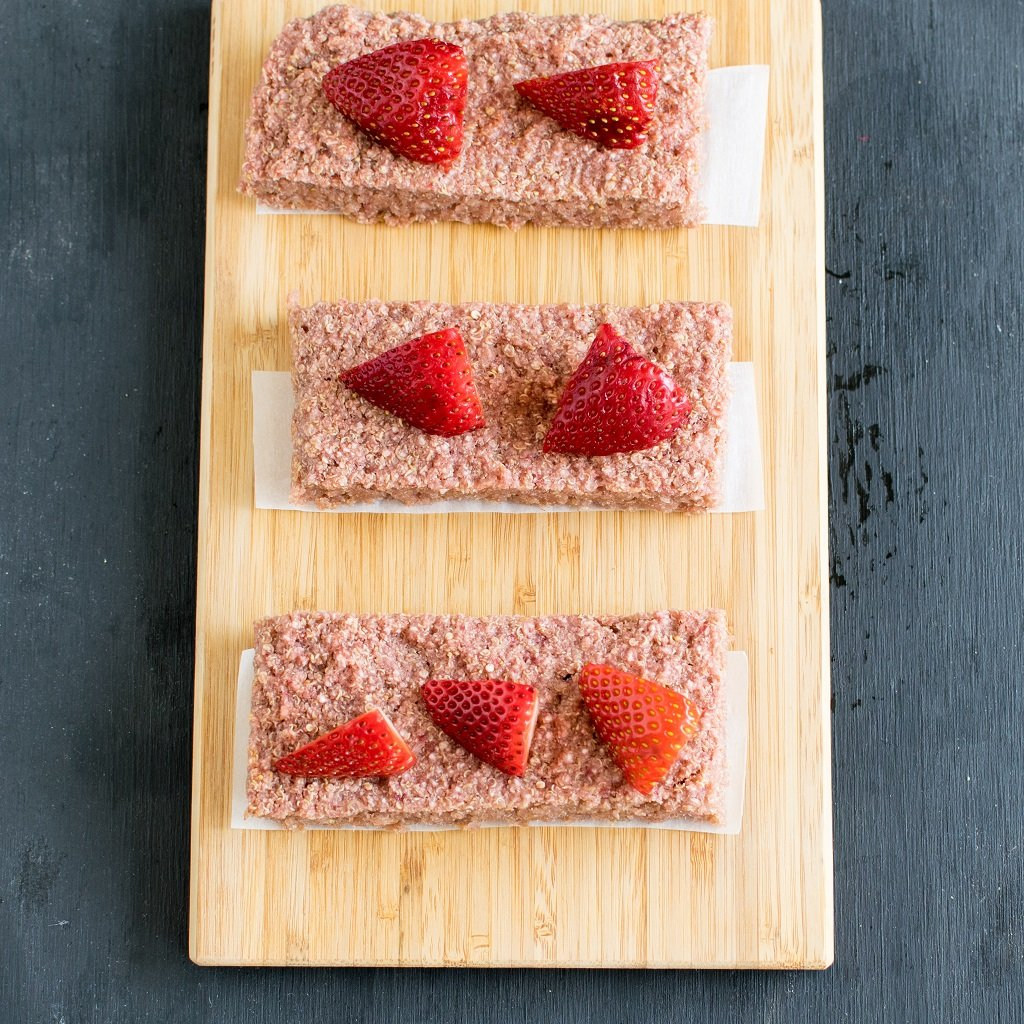 Top view of sliced Strawberry Quinoa Breakfast Bars