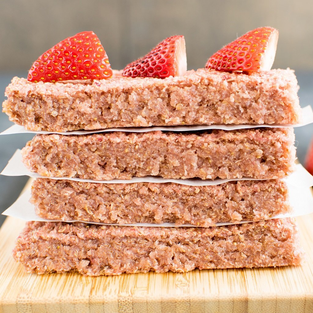 Front view of stacked Strawberry Quinoa Breakfast Bars