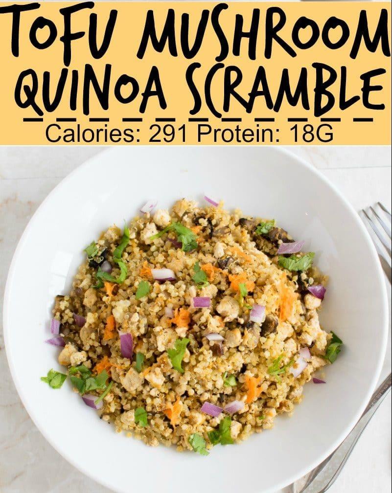 Top view of Tofu Mushroom Quinoa Scramble