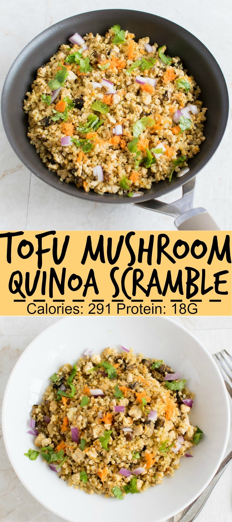 Tofu Mushroom Quinoa Scramble is a healthy, protein rich, nutritious vegan and glutenfree lunch option for the days when you don't want to eat salads | kiipfit.com
