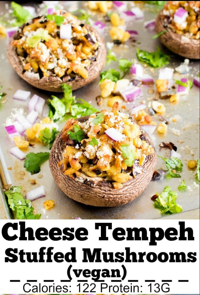 A close up view of Vegan Cheese and Tempeh Stuffed Portobello Mushrooms