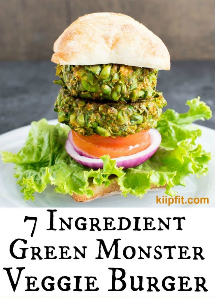 Close up view of 7 Ingredient Green Monster Veggie Burger