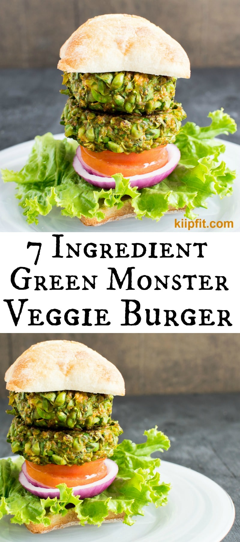 7 Ingredient Green Monster Veggie Burger is a delicious meal with immense nutrition and also it is super easy to make. [ vegan , GF, oil free ] kiipfit.com