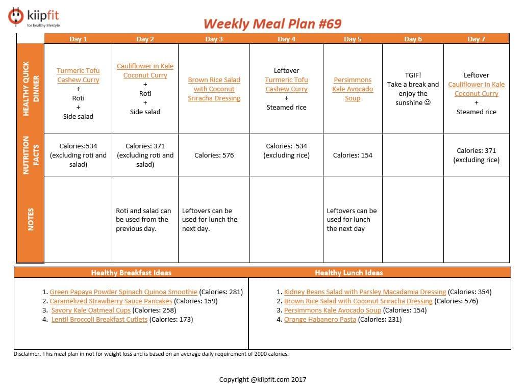 Weekly Meal Plan #69 | healthy vegan and vegetarian recipes | kiipfit.com