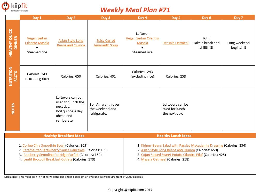 Weekly Meal Plan #71 | healthy vegan and vegetarian recipes | kiipfit.com
