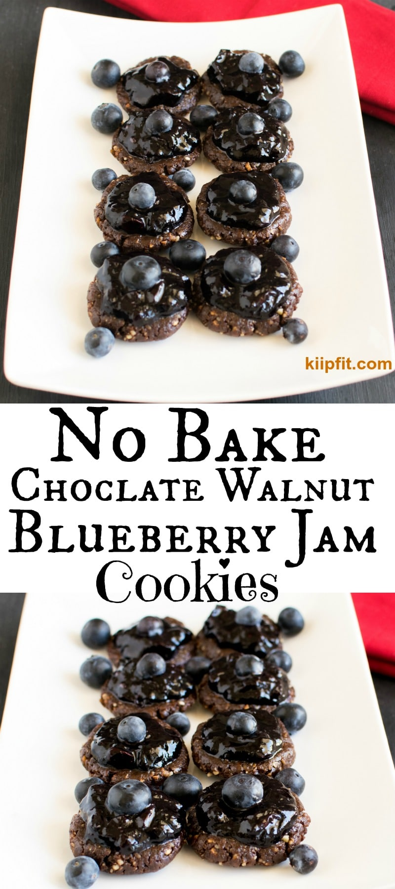 No Bake Chocolate Walnut Cookies with Blueberry Jam Frosting melts in mouth and gives you a feeling of being in heaven with its variey of flavors. Only 7 and healthy ingredients are used and these cookies are seriously addictive [ vegan + GF + Paleo ] kiipfit.com