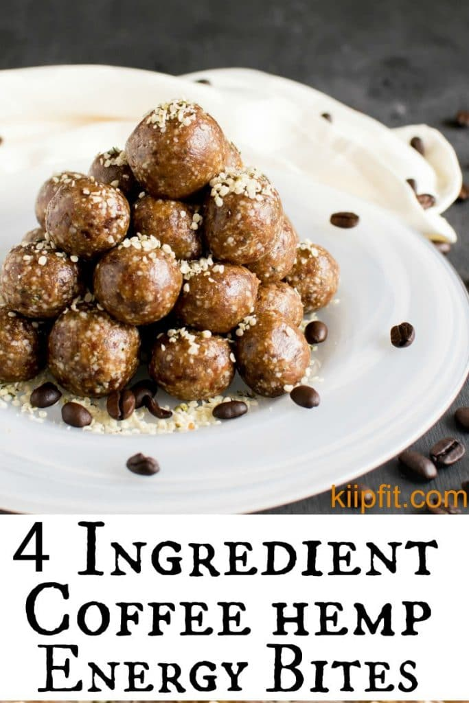 Stacked 4 Ingredient Coffee Hemp Energy Bites on a white plate and coffee beans as the prop