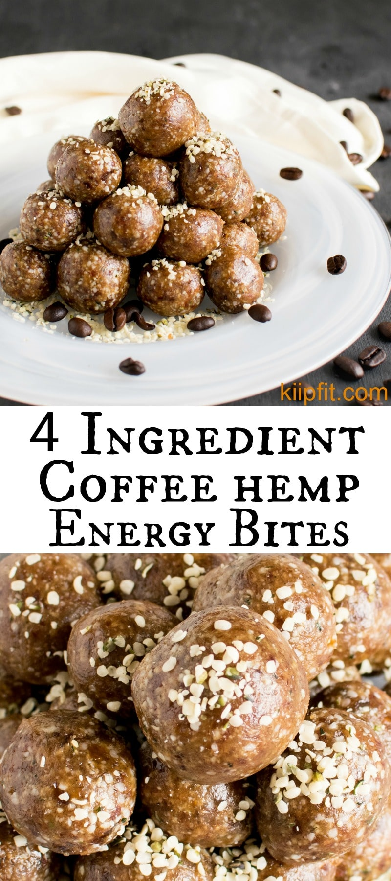 4 Ingredient Coffee Hemp Energy Bites are easy and perfect to satisfy sweet tooth in a healthy way. In about 5 minutes these energy bites can be prepared [ vegan + GF + Paleo ] kiipfit.com