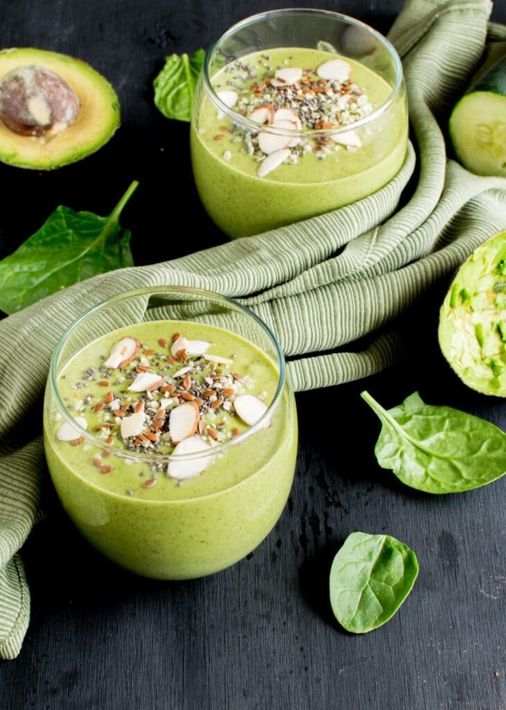 A 45 degree angle of superfood green smoothie