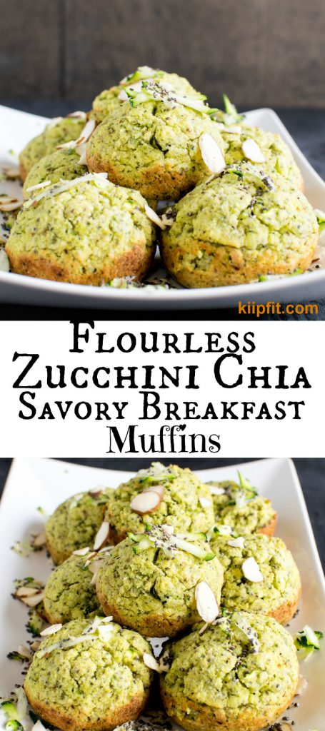 Multiple images of Flourless Zucchini Chia Savory Breakfast Muffins