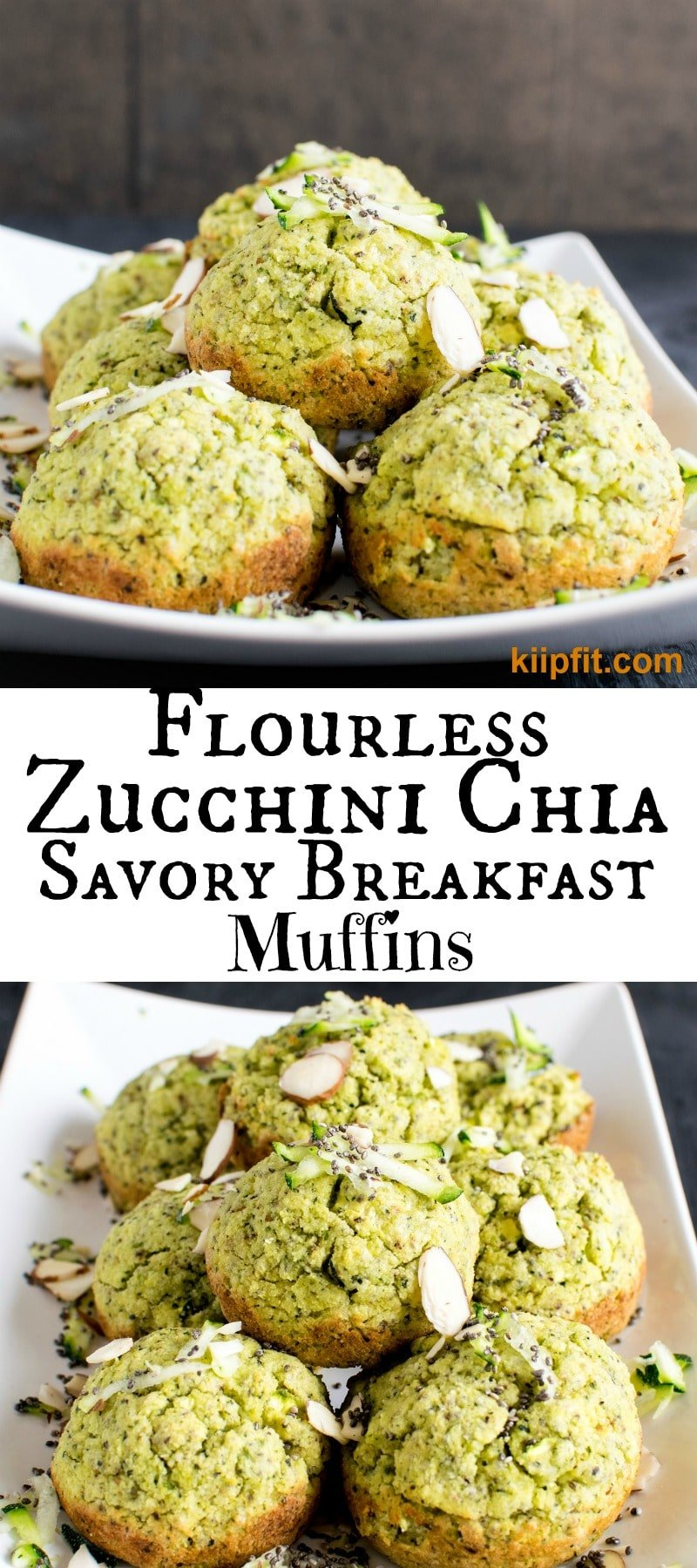 Flourless Zucchini Chia Savory Breakfast Muffins - The green color of the muffins and the aromatic lemon pepper spice blended with fresh zucchini was absolutely mouthwatering. These soft and fluffy melt in mouth savory muffins were a complete delight to our taste buds [ vegan + paleo + gf ] kiipfit.com