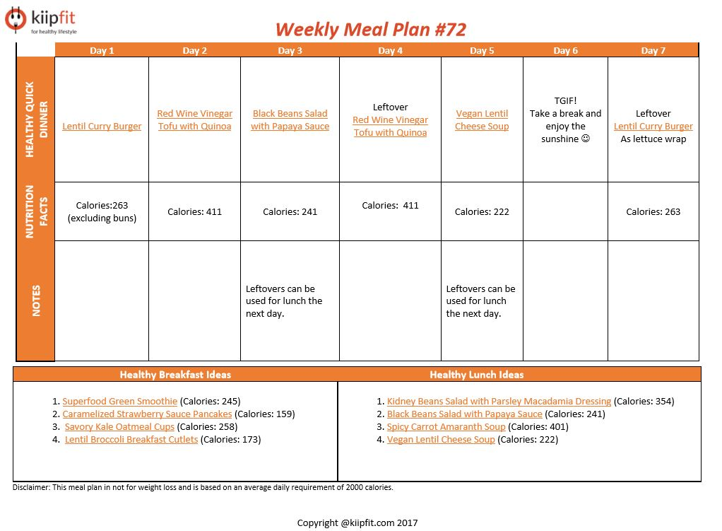 Weekly Meal Plan #72 | healthy vegan and vegetarian recipes | kiipfit.com