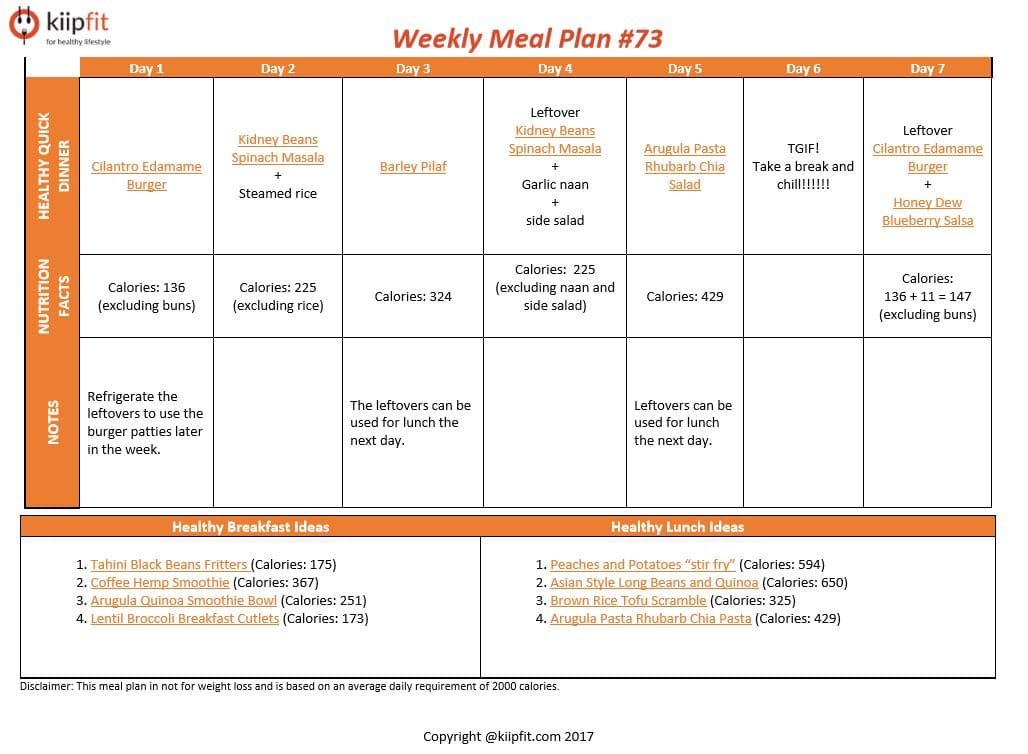 Weekly Meal Plan #73 | Healthy vegan and vegetarian recipes | kiipfit.com