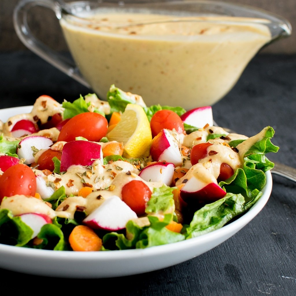 A front full view of Vegan Chopped Salad with Chickpea Sour Cream Dressing