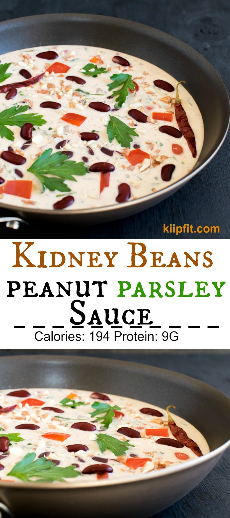Kidney Beans in Peanut Parsley Sauce is one of my unique creation with outstanding combination of ingredients. It is super flavorful and an absolute pleasure to the taste buds. High in protein and nutritious this entrée is loved by all my family members immensely. Even the leftovers of this entree tastes amazing when paired with brown rice/quinoa [ vegan + GF ] kiipfit.com