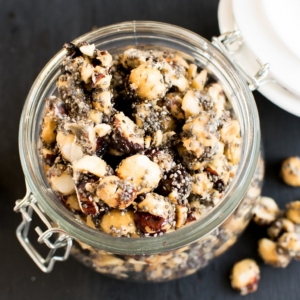 A top view of the jar filled with Maple Glazed Hazelnut Chia Snack