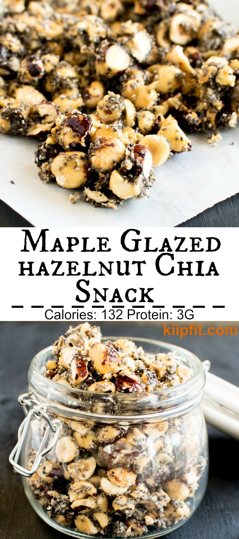 Maple Glazed Hazelnut Chia Snack is truly exquisite and an awesome crowd pleaser. It's a great back to school snack or delicious crunch to just munch on it in those odd hours of the day. I bet you can't stop eating it all until the jar is empty. My family went crazy for this snack and finished the entire jar in a whoooshhh [ vegan + GF + paleo ] kiipfit.com