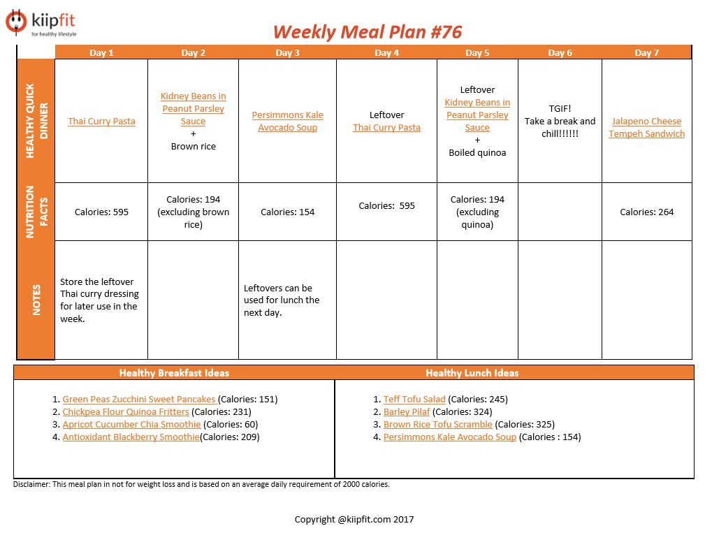 Weekly Meal Plan #76   healthy vegan and vegetarian recipes   kiipfit.com