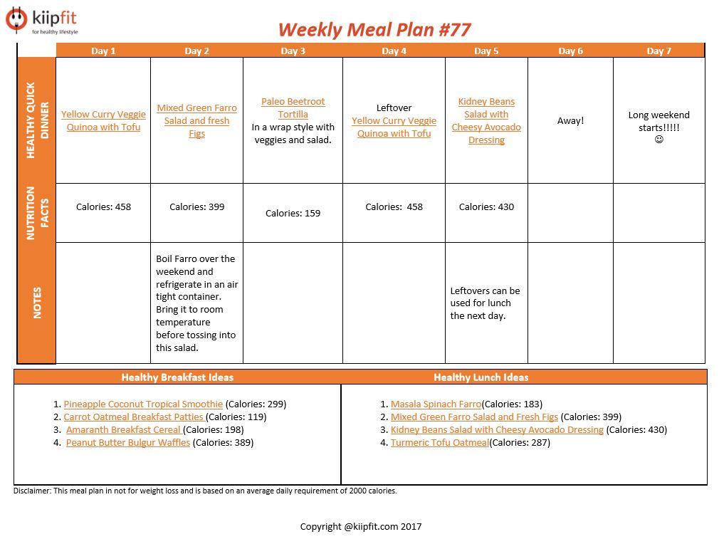 Weekly Meal Plan #77   healthy vegan and vegetarian recipes   kiipfit.com