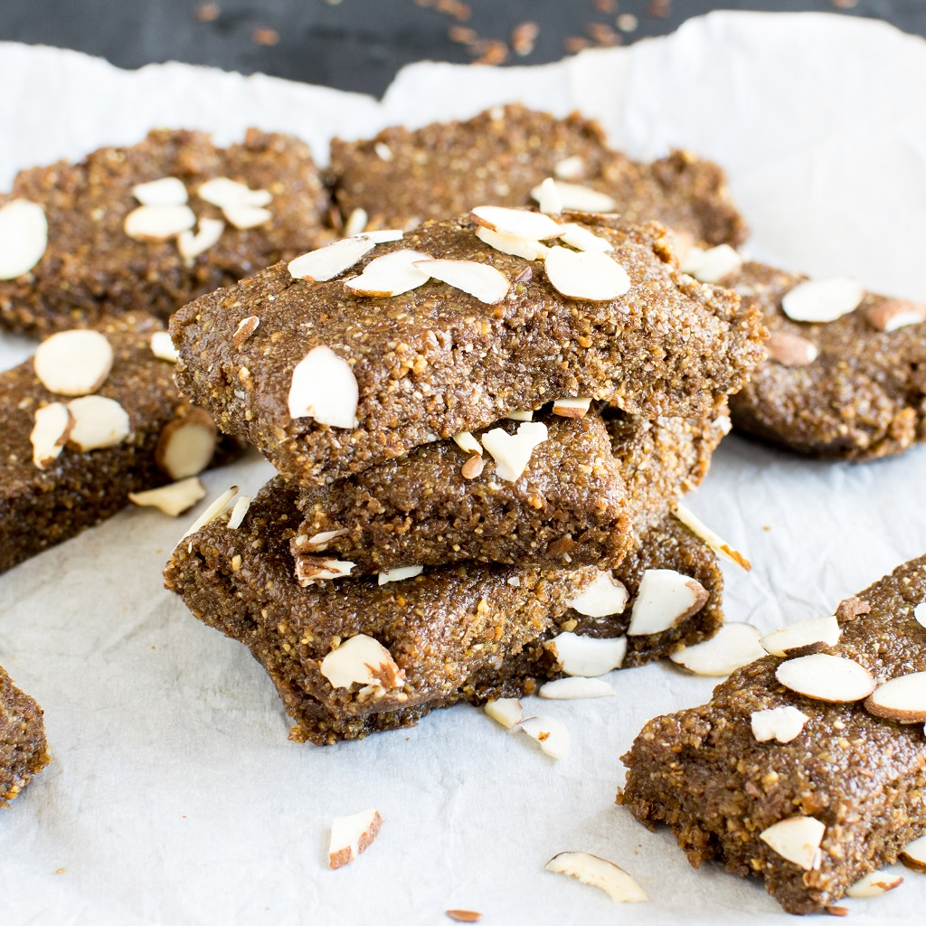 A front view of stacked No Bake Almond Butter Flax Bars
