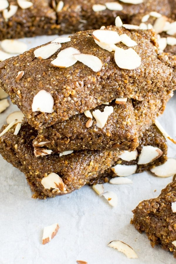 Stacked No Bake Almond Butter Flax Bars