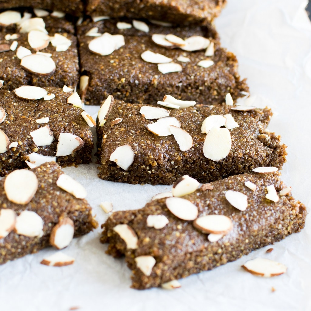 Sliced No Bake Almond Butter Flax Bars