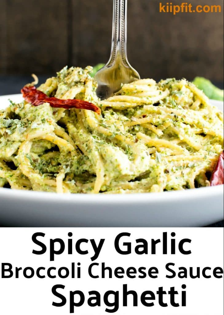 A close up view of Spicy Garlic Spaghetti in Broccoli Cheese Sauce