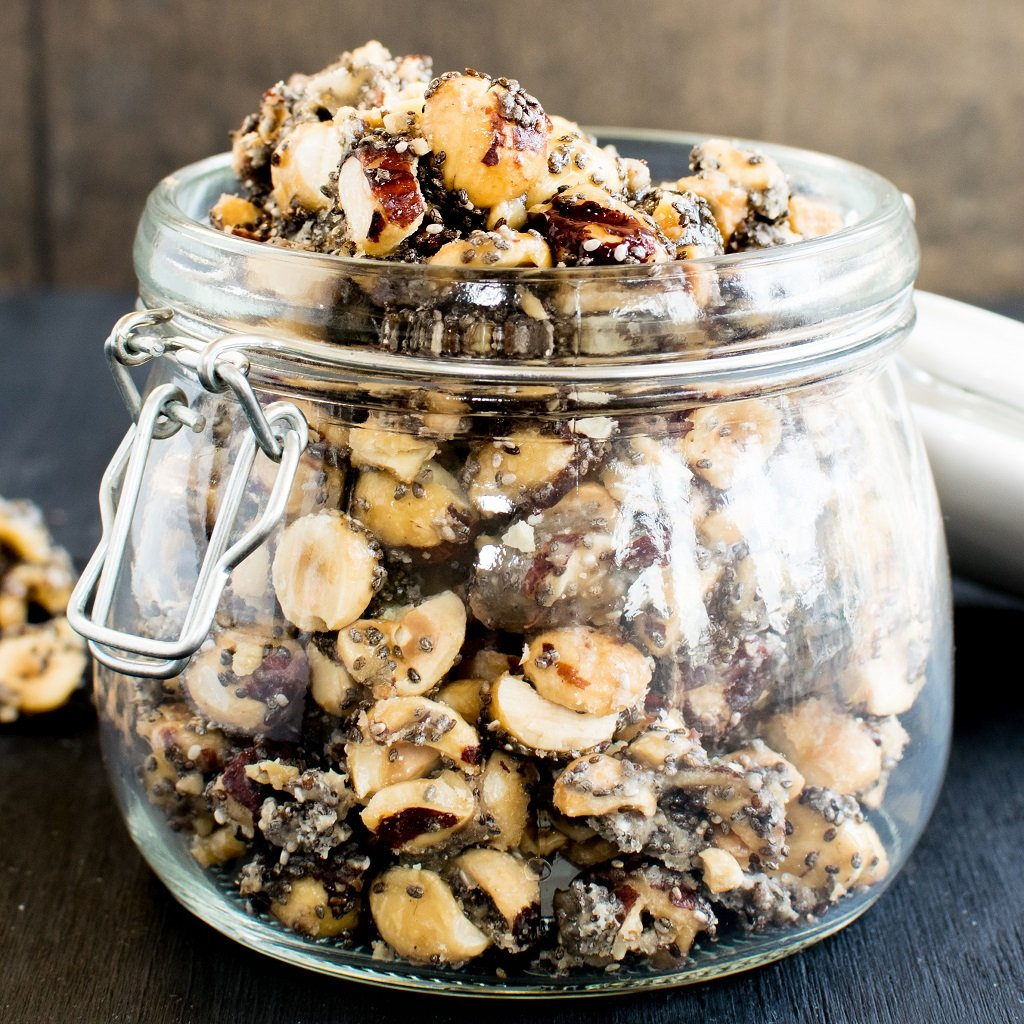 A glass jar filled with the snack