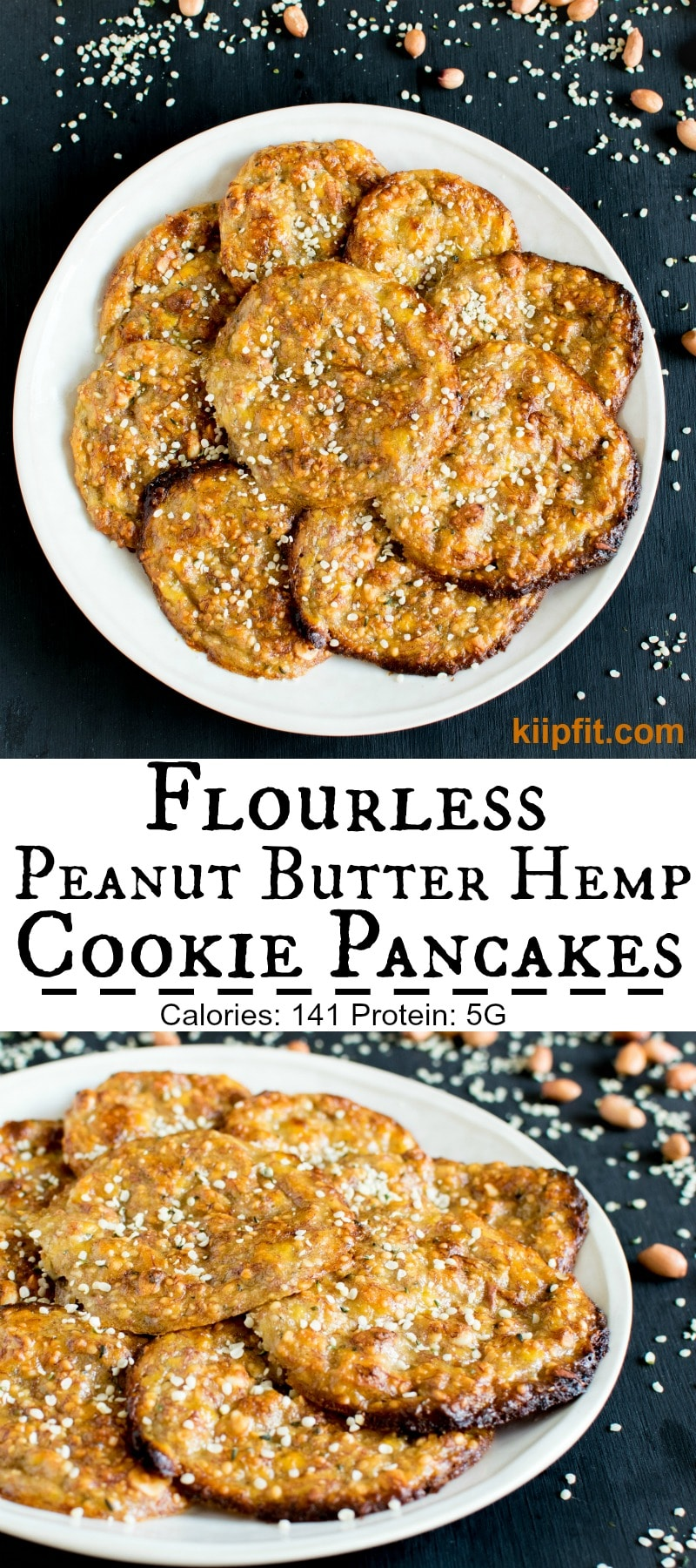 Flourless Peanut Butter Hemp Cookie Pancakes are moist, soft and chewy with mind blowing flavors. These cookies are absolutely out of this world. I would say it's a hybrid between a cookie and a pancake. The ingredients and taste of this dessert is similar to cookies. However, the texture and the outcome is similar to pancakes. It's perfect to satisfy the desire of cookies and pancakes in just one plate [ vegan + GF ] kiipfit.com