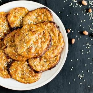 A top view of Flourless Peanut Butter Hemp Cookie Pancakes