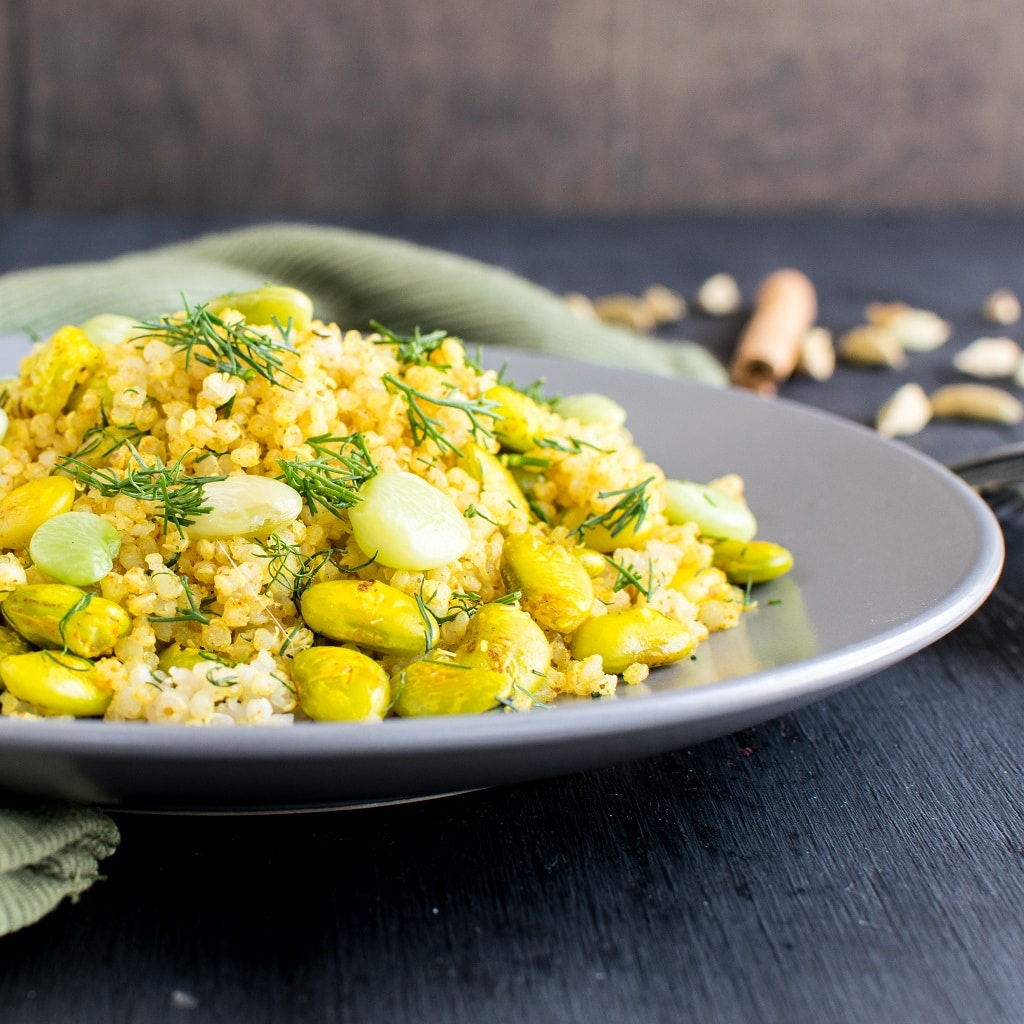 Quinoa Lima Beans Dill Pilaf is loaded with protein and other nutrients along with being super flavorful. The beautiful color of the ingredients are mixed together to bring out this aromatic and delectable lunch. It's easy to cook and requires minimum ingredients [ vegan + GF ] kiipfit.com