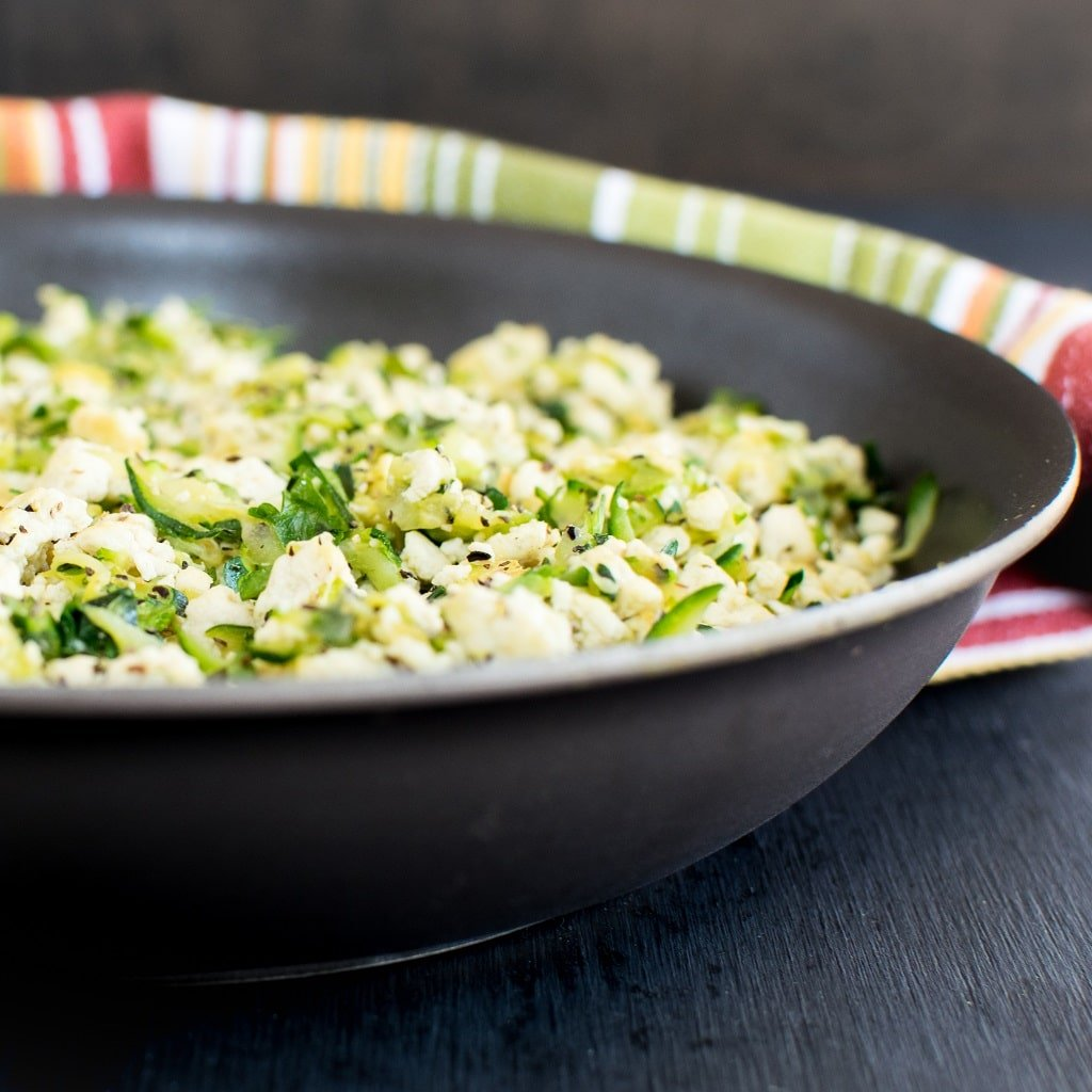Front view of Tofu Zucchini Herb Scramble in the pan