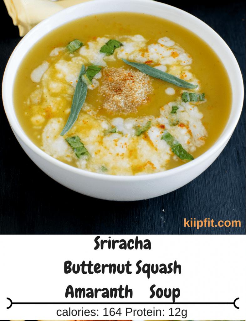close up top view of sriracha butternut squash amaranth soup