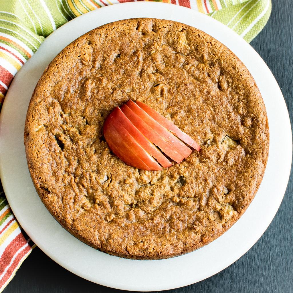 Top view of Pan Seared Vegan Apple Almond Cake
