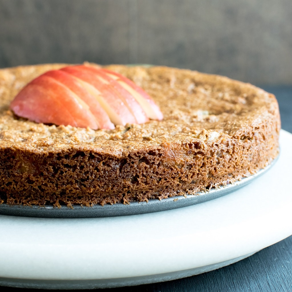 A close up front view of Pan Seared Vegan Apple Almond Cake