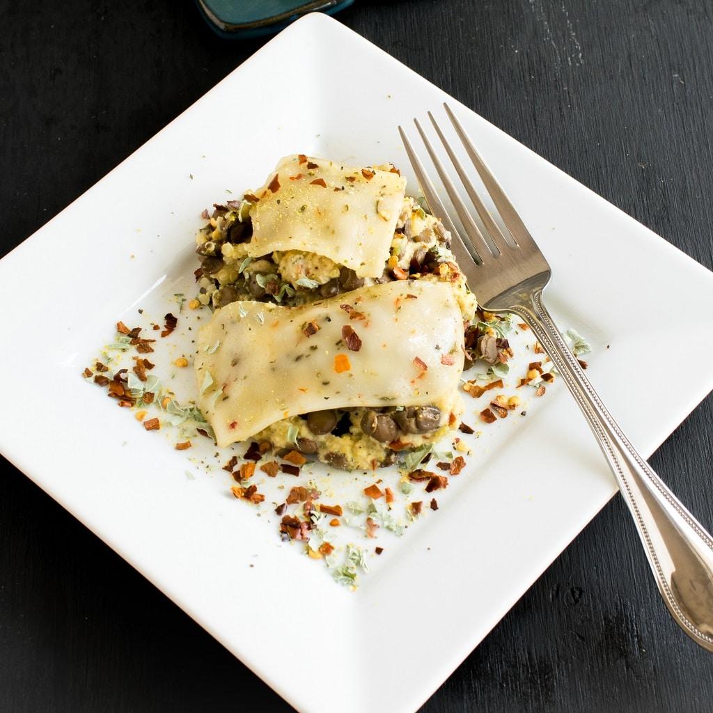 A close up view of Cheesy Lentil Quinoa Vegan Casserole