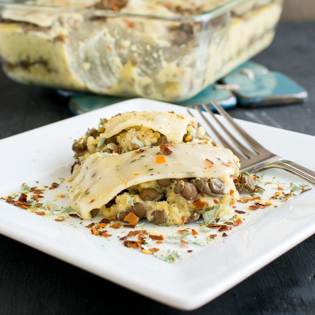 Cheesy Lentil Quinoa Vegan Casserole on a serving plate