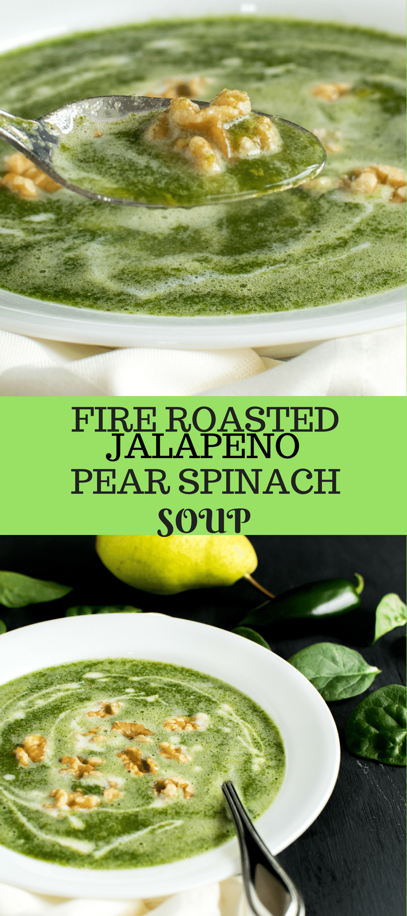 Fire Roasted Jalapeno Pear Spinach Soup as the name suggest is fired up! Hahaha!!! Not really. This soup however has smoked flavor of jalapeno and the sweetness of green pear along with the goodness of spinach. Nutritious….isn't it? It indeed is [ vegan + paleo ] kiipfit.com