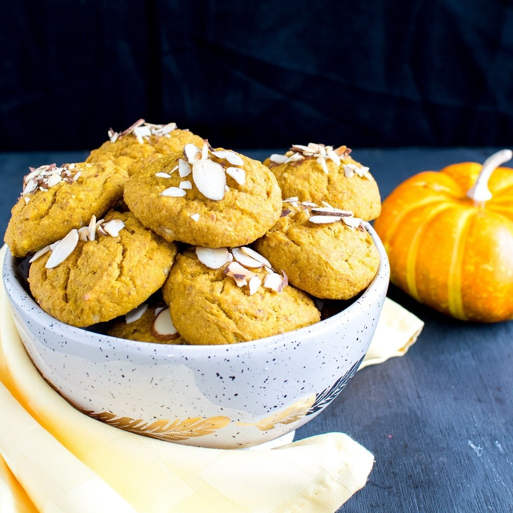 Almond Butter Pumpkin Oatmeal Cookies are outstanding and flavorful delectable dessert. These creaveable cookies are made with nutritious ingredients and are soft and chewy that easily melts in the mouth. These cookies have all the fall flavors that bring extreme joy to the taste buds and satisfaction to enjoy the weather [ vegan + oil free ] no added sugar + GF option ] kiipfit.com