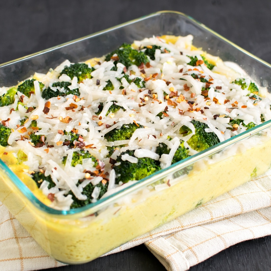 A close up view of Baked Cheese Broccoli Vegan Casserole