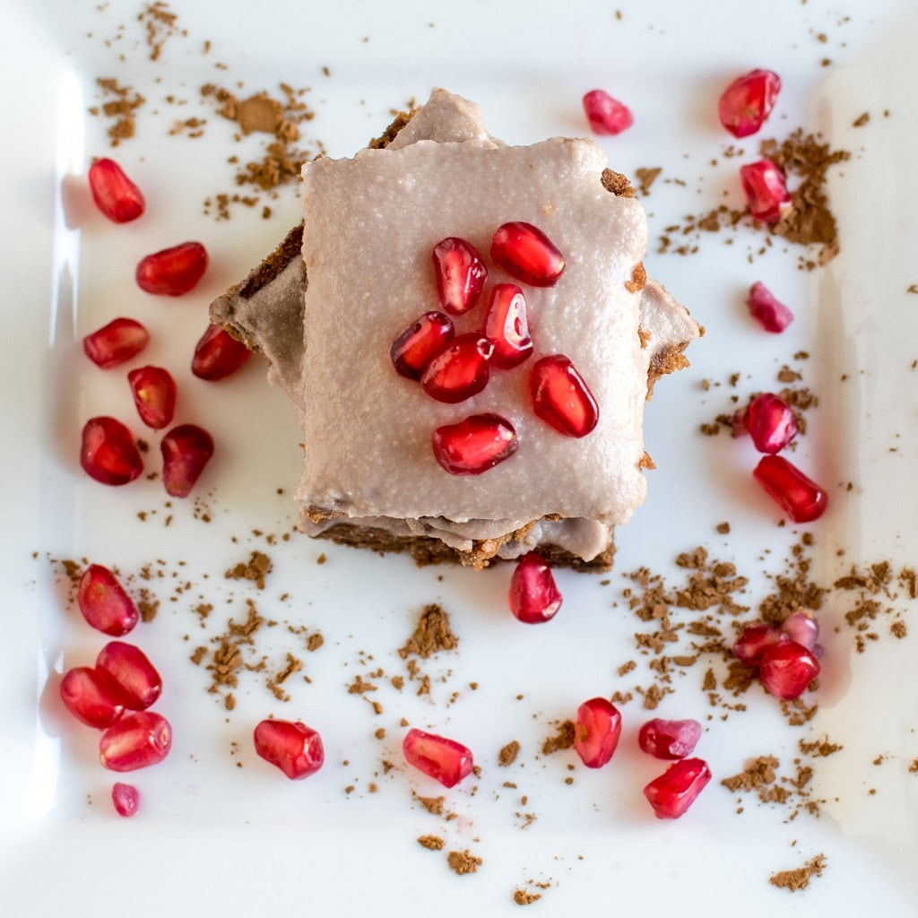 The top view of Pomegranate Frosted Flourless Brownies is shown