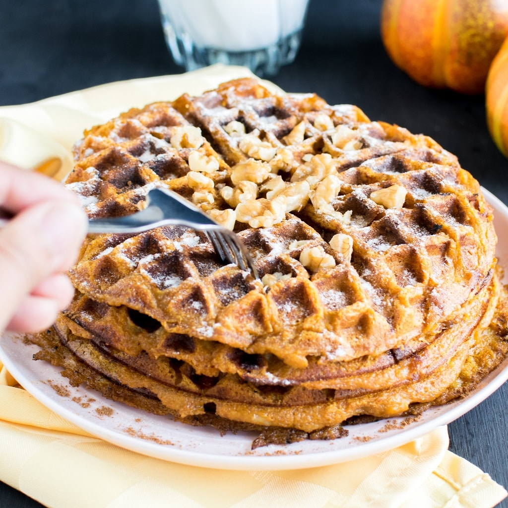 Pumpkin Pie Spice Spelt Waffles covered with powdered sugar and topped with walnuts. This image is showing a hand holding a fork and trying to cut out a slice of the waffles