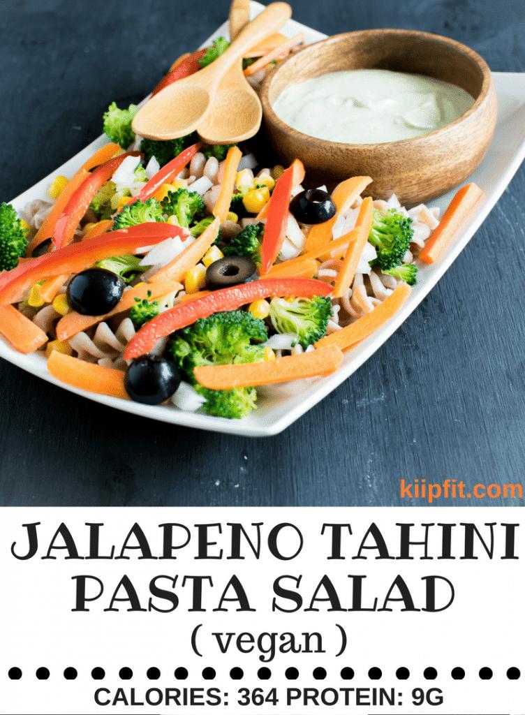 A front view of Jalapeno Tahini Vegan Pasta Salad